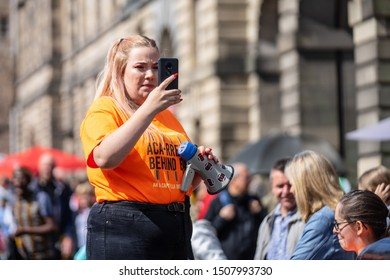 Edinburgh, Scotland, August 8th 2019. Leaflet Distributors or Flyer Distributors.The Edinburgh Festival Fringe, also referred to as The Fringe or Edinburgh Fringe, or Edinburgh Fringe Festival