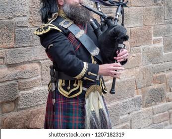 Edinburgh, Scotland - bagpiper player