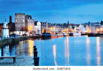 Edinburgh, Scotland: beautifull old harbour Leith.
