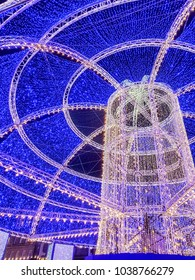 EDINBURGH, SCOTLAND - DECEMBER 12 2017: Christmas decorations on George Street and German market stalls. Edinburgh, Scotland, UK