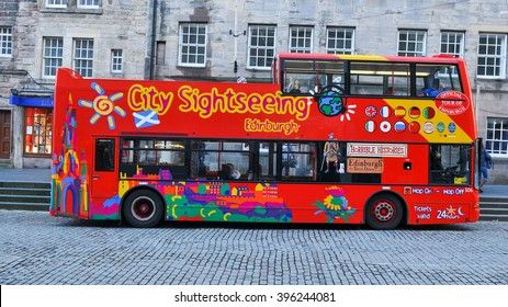 Edinburgh, Scotland - December 23, 2015: Tourists embark the sightseeing tour of landmarks  in Edinburgh, Scotland, UK
