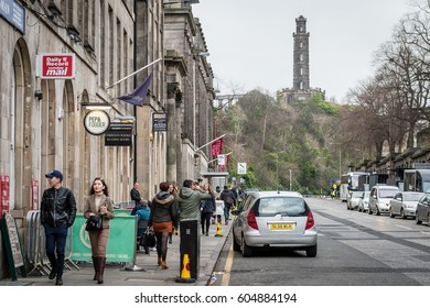 Edinburgh, Scotland - December 30, 2016: People are walking on the streets in Edinburgh, Scotland, UK