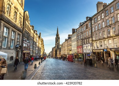 Edinburgh, Scotland - February 10th 2015 - Tourists and locals walking in the streets of downtown Edinburgh in Scotland.