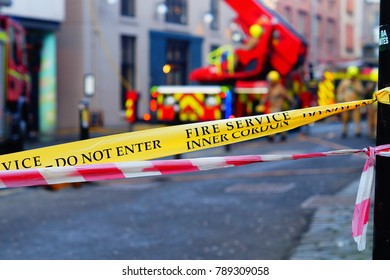 Edinburgh, Scotland - Jan 8th 2018 - Fire service cordon with appliances working to control a fire on the Cowgate
