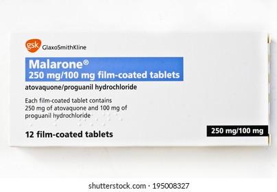 EDINBURGH, SCOTLAND JANUARY 11, 2014: photo of Malarone anti-malarial tablets in Edinburgh, Scotland. Malarone is the GlaxoSmithKline brand name for the atovaquone/proguanil drug combination.