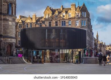 Edinburgh, Scotland - January 15, 2020: Modern entrance of McEwan Hall, one of the buildings of Edinburgh University