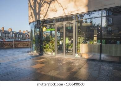 Edinburgh, Scotland - January 6 2021: Little Dobbies first shop at the new Raeburn Place development on Comely Bank Road in Edinburgh, Scotland.