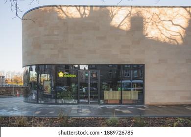 Edinburgh, Scotland - January 8 2021: The new Raeburn Place development and flagship Little Dobbies on Comely Bank Road in Edinburgh, Scotland