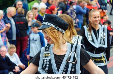 EDINBURGH, SCOTLAND - JULY 17, 2016: Closeup of a female performer in the Carnival of The Edinburgh Jazz and Blues Festival