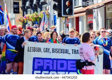 EDINBURGH, SCOTLAND - JULY 2, 2016: Kesia Dugdale, leader of the Scottish Labour Party and MSP for Lothian Region, celebrating Pride Edinburgh on Royal Mile during Scotland's National LGBTI Festival.