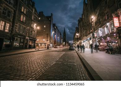 Edinburgh, Scotland - July 22 2017, Cityscape of edinburgh in evening