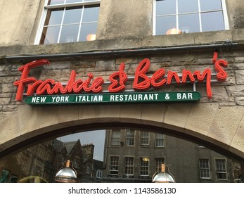 Edinburgh, Scotland, July 22, 2018: Frankie & Benny's Sign