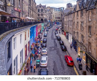 EDINBURGH, SCOTLAND - JULY 28: Looking up Victoria Street towards the Royal Mile on July 28, 2017 in Edinburgh Scotland. The Royal Mile is a popular attraction in Edinburgh and hosts many tourists.