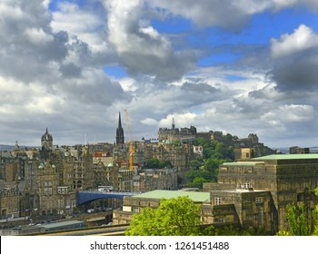 EDINBURGH, SCOTLAND - JULY 29, 2017: The Old Town Edinburgh in Scotland. Edinburgh is UNESCO World Heritage Site