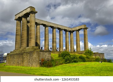 EDINBURGH, SCOTLAND - JULY 29, 2017: National monument on Calton Hill in Edinburgh, United Kingdom. Edinburgh is UNESCO World Heritage Site
