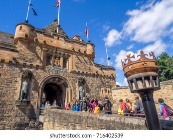 EDINBURGH, SCOTLAND - JULY 29: Entrance and exterior fortifications at Edinburgh Castle on July 29, 2017 in Edinburgh Scotland. Edinburgh Castle is full of many ancient buildings.