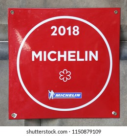 EDINBURGH, SCOTLAND -JULY 5, 2018: Michelin Star sign in the 21212 Restaurant owned by Award Winning Chef Paul Kitching in Edinburgh, Scotland