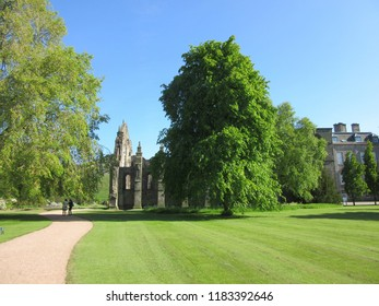 Edinburgh, Scotland - June 1, 2015 - The lush brilliant-green grounds of Hollyrood Palace on a summer day.