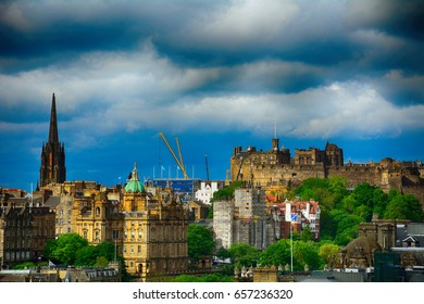 EDINBURGH, SCOTLAND - JUNE 1: The castle in 1 June, 2017 at Edinburgh. Edinburgh has a lovely medieval castle.