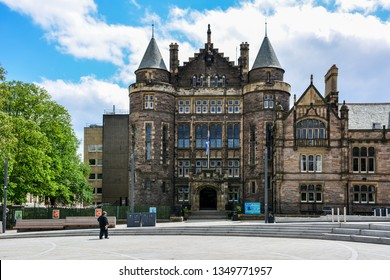Edinburgh / Scotland — June 18, 2018: the medieval building of the Teviot Row House, a student union building of the University of Edinburgh, located in the Bristo Square in the center of the city