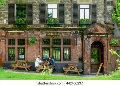 EDINBURGH, SCOTLAND -  JUNE 20, 2016: The Golf Tavern at Bruntsfield Links in Edinburgh.  The tavern is one of the oldest public houses established in 1456.