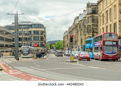 EDINBURGH, SCOTLAND -  JUNE 20, 2016: Trams, cars and busses at Haymarket Terrace in the west end of Ediinburgh.