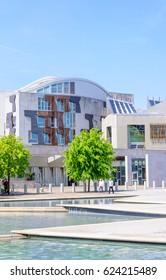 EDINBURGH, SCOTLAND - JUNE 4, 2016: Exterior of the Scottish Parliament Building, Holyrood, Edinburgh, Scotland