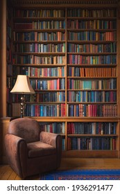 Edinburgh, Scotland - June 5 2019: A cozy old-fashioned reading nook with stately home library collection of vintage books.