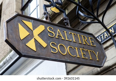 EDINBURGH, SCOTLAND - MARCH 12TH 2016: Sign for the historic Saltire Society in Edinburgh, on 12th March 2016.  The society was set up to promote the understanding of Scottish culture and heritage.