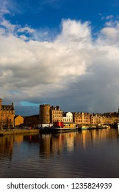EDINBURGH, SCOTLAND - Mart 30, 2016: The Quayside in Port of Leith, the historic district of Edinburgh City famous for it's restaurants on boats and pubs.