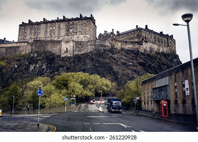 EDINBURGH, SCOTLAND - MAY 06, 2014: Edinburgh Castle on Castle Rock. City view of Edinburgh. Edinburgh is the capital city and second most populous city in Scotland