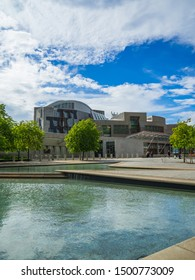 EDINBURGH, SCOTLAND - MAY 15, 2017: The new Scottish Parliament building in Holyrood, Edinburgh designed by the Spanish architect, Enric Miralles.