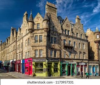 EDINBURGH, SCOTLAND - MAY 17: Typical architecture in city Edinburgh on May 17, 2018 in Edinburgh