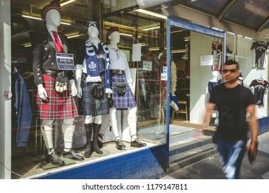 EDINBURGH, SCOTLAND - MAY 18: Traditional Scottish cloh - kilt in centre of city on May 18, 2018 in Edinburgh