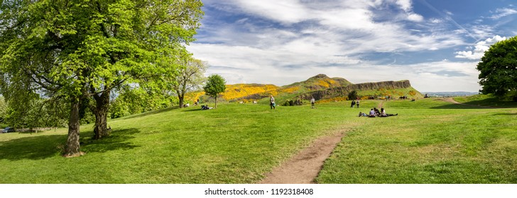 EDINBURGH, SCOTLAND - MAY 18:  View from Calton hill on Arthurs seat on May 18. 2018 in Edinburgh
