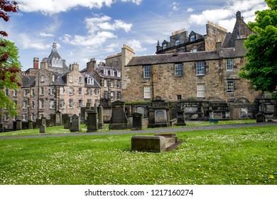 EDINBURGH, SCOTLAND - MAY 19: Graveyard greyfriars kirkyard on May 18, 2019 in Edinburgh