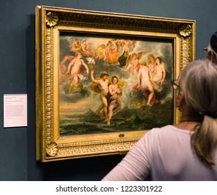 EDINBURGH, SCOTLAND - MAY 19: Paul Rubens painting in Scottish national gallery on May 19, 2019 in Edinburgh