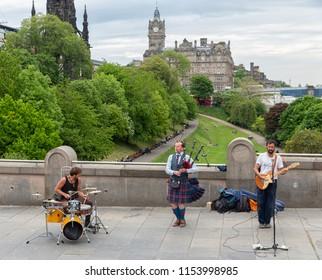 Edinburgh, Scotland - May 20, 2018: Performance of band Spinning Blowfish in Edinburgh