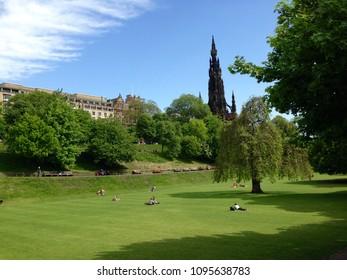 Edinburgh, Scotland - May 21, 2018: Princess Street Gardens
