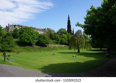Edinburgh, Scotland - May 21, 2018: princes gardens