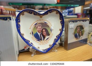 Edinburgh, Scotland - May 21, 2018: royal wedding souvenirs