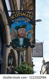 Edinburgh, Scotland - May 21, 2018: sign of a pub