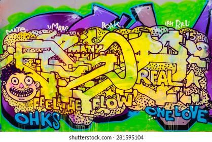 EDINBURGH, SCOTLAND - MAY 23, 2015: Street Art/Graffiti by unknown artist.