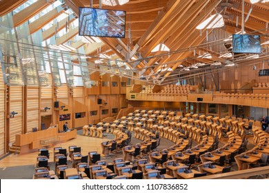 Edinburgh, Scotland - May 24, 2018: Interior Scottish parliament the debating chamber