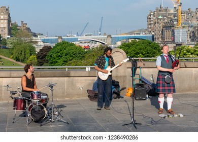 Edinburgh, Scotland - May 24, 2018: Performance of band Spinning blowfish in Edinburgh