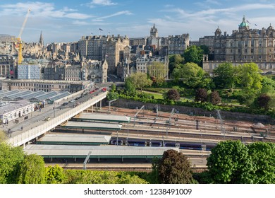 Edinburgh, Scotland - May 24, 2018: Aerial view from Scott Monument at medieval city of Edinburgh with Waverley railway station.
