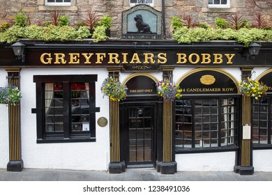 Edinburgh, Scotland - May 24, 2018: Greyfriars Bobby Pub on Candlemaker Row in Edinburgh city centre. Bobby was waiting 14 years by the grave of his boss.
