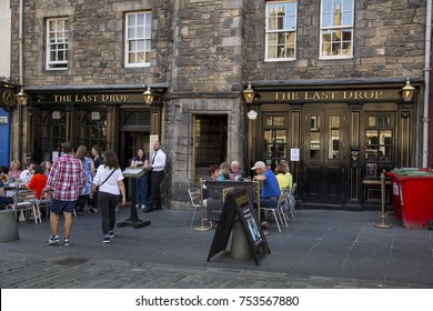 EDINBURGH, SCOTLAND - MAy 26TH 2017:The Last Drop public house located on Grassmarket in the old town area of Edinburgh, criminals were given their last drink here before being hung in on the gallows