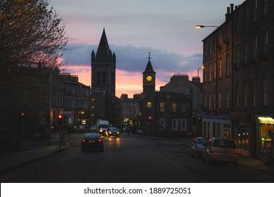Edinburgh, Scotland - May 5 2016: An evening streetscape of the Stockbridge neighbourhood in newtown Edinburgh, Scotland.