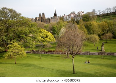 EDINBURGH, SCOTLAND MAY 6, 2016: Spring colors of Princes Street Gardens with the Assembly Hall in the background